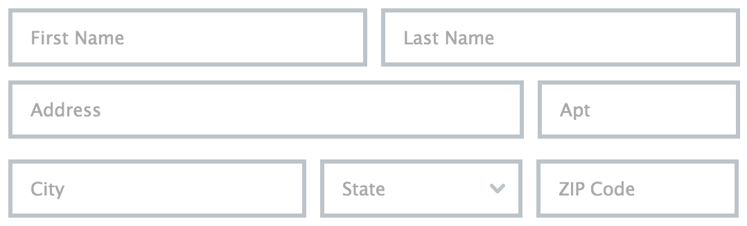 Fields with placeholders as labels